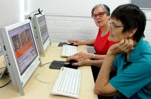 Seniors get online in the new 'Surf Space' at Spillett House