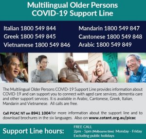 Multilingual Older Persons Covid-19 Support Line  Social Media Tile | English