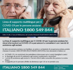 Multilingual Older Persons Covid-19 Support Line  Social Media Tile | Italian